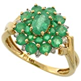 14k Gold Natural Emerald Cluster Ring Oval Center Diamond Accent, 5/8 inch, size 8