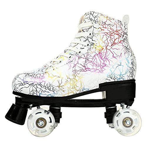 litulituhallo Women's Roller Skates Graffiti High Top Double Row Adjustable with Flashing White Transparent Size 38