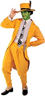 Mens Deluxe Manic Superhero Fancy Dress Costume Gangster Suit Yellow