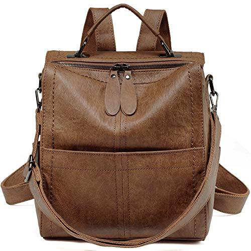 VASCHY Rucksack Damen, Elegant Kunstleder Quadratischer Kleiner Mini Rucksack Casual Daypack Handtasche Schultertasche für Frauen Hochschule Mädchen(Braun)