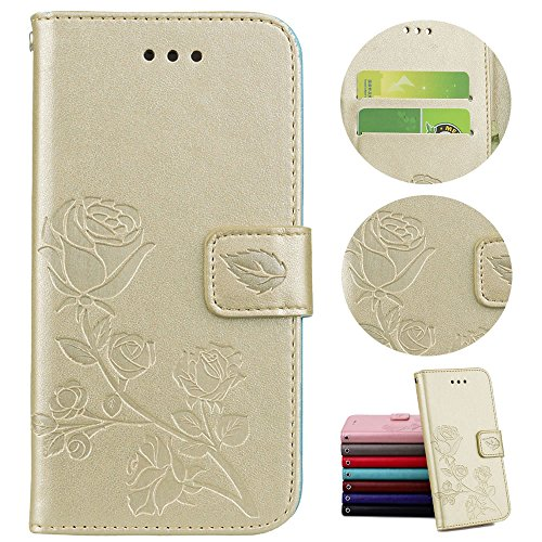 Sycode Sycode Galaxy S8 Plus Hülle,Galaxy S8 Plus Case,Galaxy S8 Plus Schutzhülle,Rose Blume Muster Lederhülle Hülle für Samsung Galaxy S8 Plus-Gold