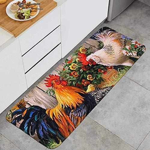 OPLJ Sonnenblumen- und Hahn-Küchenmatte rutschfeste Teppichbodenmatte Schlafzimmer...