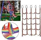 YQZ Red de Carga de Escalada para niños, Ninja Rainbow Training Ribbon Net, área de Juegos Interior y Exterior para Deportes y Entretenimiento Diarios