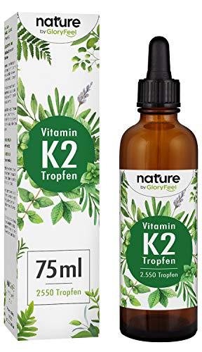 Vitamin K2 Tropfen 200µg 75ml - 2500 Tropfen K2 MK-7-99,97{274370dc2d1483198968fe0d415931e69f6950deefda7f75ee38e6bfc16f31e3} Höchster All-Trans Gehalt - Premium Gnosis VitaMK7 hoch Bioverfügbar natürlich fermentiert - Laborgeprüft hergestellt in Deutschland