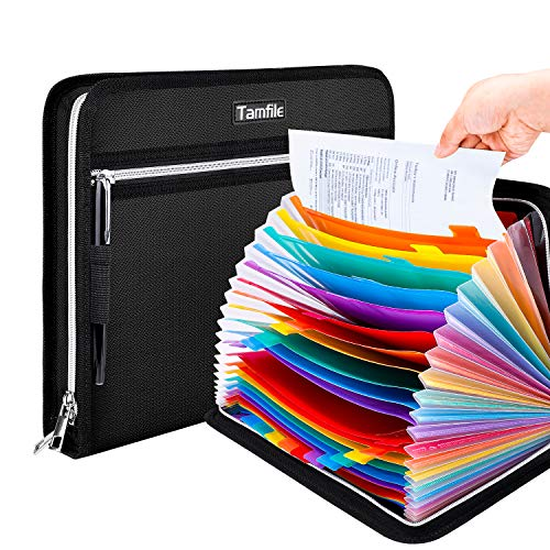 Tamfile Fireproof Waterproof Safe Expanding File Folder Accordion Document Organizer with 24 Pockets Portable Money File Bag Filing Holder and Color Lables/3Zippers A4 Letter Size (Black,14.3'9.8')