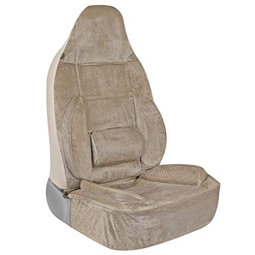BDK BackSaver High-Back Car Seat Covers for Front Seats Only – Built-in Ergonomic Lumbar Support with Back and Leg Cushions, Universal Fit for All Headrest Types in Car Truck Van and SUV (Beige)