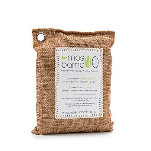 mosoobamboo Lufterfrischer cleanAir - 250g, braun aus Bambus Aktivkohle - Natürlicher Geruchsentferner & Luftentfeuchter für Auto, Küche, Bad, Kleider-Schrank - Biologischer Geruchskiller
