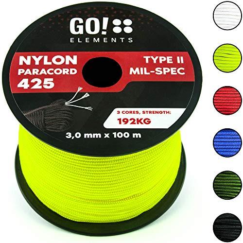 GO!elements 100m Cuerda Paracord de Nylon Resistente al desgarro - 3mm Paracord 425 Tipo II líneas como Cuerda para Exteriores, Cuerda para Todo Uso - línea de Nylon MAX. 192kg, Color:Neon