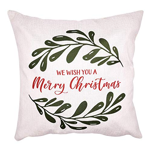 Arundeal - Funda de almohada decorativa de lino y algodón con diseño de corona navideña de 45,7 x 45,7 cm - Te deseamos una feliz Navidad