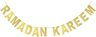 Cianowegy Gold Glitter Banner - Ramadan Kareem - Golden Letters Hanging Banners Eid Festival Party Decoration