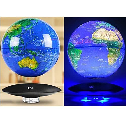 QXXZ Azul Mapamundi Magnético 3D Levitación Globo Terráqueo con Rotación y Luces de LED,para Aprender Enseñanza Demostración Casa y Escritorio Decoración Regalo Creativo(8in)