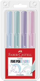 Caneta Fine Pen Tons Pasteis 4 Cores, Faber-Castell, FPB/TPZF, Multicor