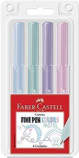 Caneta Fine Pen Tons Pasteis 4 Cores, Faber-Castell, FPB/TPZF, Multicor