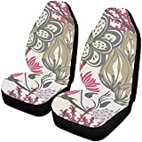 Fundas de asiento de coche Asientos delanteros 2 piezas Floral dibujado a mano Protector de asiento de vehículo creativo Fundas de alfombra de coche e,