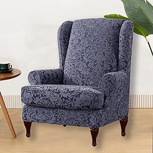 YNYEZBH 2 unids/Set Funda de Silla con Respaldo de ala,sillónelástico de Licra, Fundas desofá Individual,Protector de sillones con Respaldo deRey,WingChairCover1