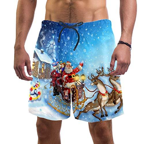 Eslifey, pantaloncini da spiaggia da uomo, con slitta di Babbo Natale e renna, costume da bagno elastico per uomo Multi L