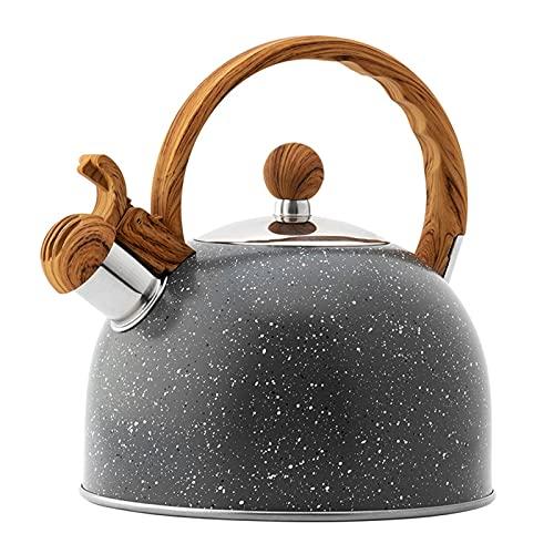 Jarras de té Hervidor de té de acero inoxidable Handilla de grano de madera Negro 2.5L SHISTLING TEA POT PARA COCINA DE GAS COCINA DE INDUSTRIAL DE LA COCINA DE LA COCINA DE LA COCINA DEL HOGAR Tetera