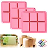 Ozera 3 Pack Soap Molds, 6 Cavities Silicone Soap Molds, Soap Making Chocolate Baking Molds