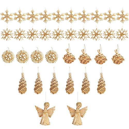 BELLE VOUS Déco Sapin Noel Naturel (36 Pcs) - Assortiment de Décoration de Noel en Paille Naturelle Fait Main avec Cordelettes - Suspensions Sapin de Noel Déco Rustique pour Le Fêtes de Noël