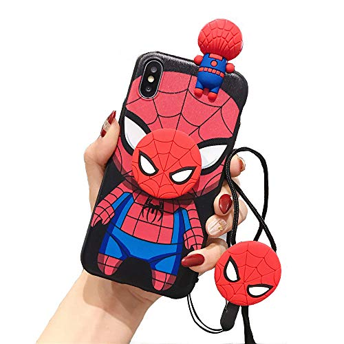 MME Character Case for iPhone 7/8 / SE 2020 - Captain America Spider-Man Iron Man Batman 3D Cartoon Case Soft TPU with Phone Stand Holder Neck Strap Lanyard (Spider-Man, 7/8 / SE 2020)