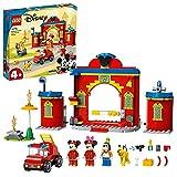 LEGO Disney Mickey and Friends Autopompa e Caserma di Topolino e i Suoi Amici con un Camion dei Pompieri Giocattolo, 10776