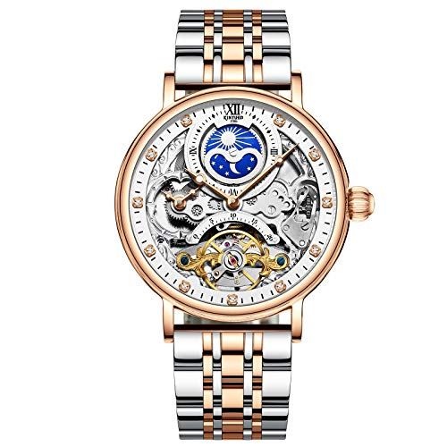 QZPM Hombres Automático Mecánico Relojes Acero Inoxidable Bracelet Analógico Fase Lunar Luminosa Impermeable Multifunción Negocio Relojes,Rose White