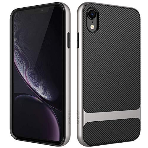 JETech Cover Compatibile iPhone XR, Custodia con Assorbimento degli Urti e Fibra di Carbonio, Grigio