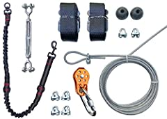Includes 100 ft cable line 6.3mm, pulley, carabiner, 2x bumpers, 1 bungee segment, 2x anchor straps, and 4 cable clamps. Also designed for behavior management such as runaway dogs, chewing dogs, and aggressive pets. Customize the length of the track,...