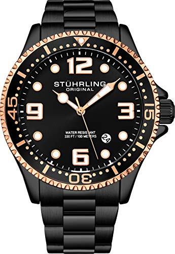 Stuhrling Original Reloj de buceo analógico para hombre, resistente al agua, 100 metros, relojes para hombre, pulsera de eslabones de acero inoxidable, colección de relojes para hombre