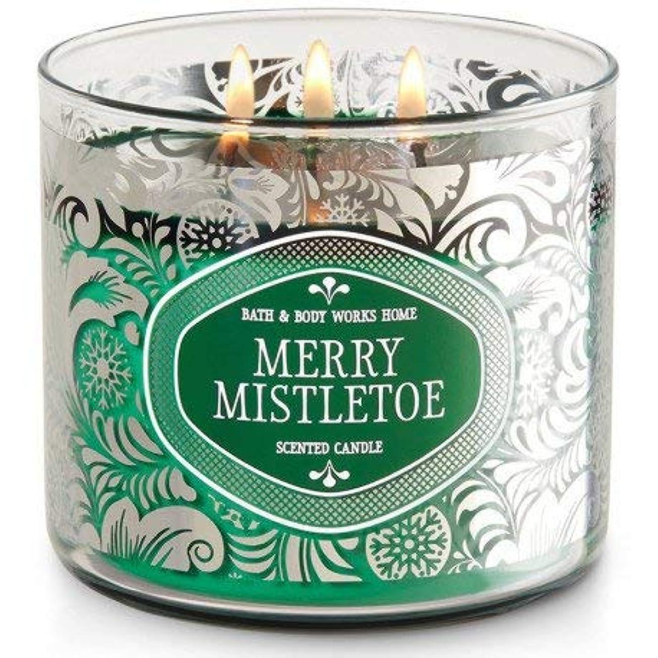 水分病院趣味Bath and Body WorksホワイトバーンMerry Mistletoe 3?Wick Candle 14.5オンス