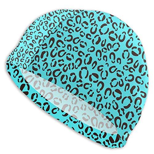 ND Gorro de baño para Hombres, Mujeres, Piel de Leopardo Azul, patrón...