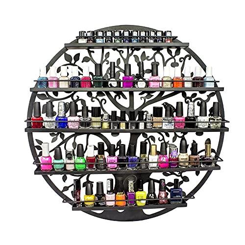 LHK Soporte para Esmalte de uñas de 5 Niveles montado en la Pared, Organizador de Aceite Esencial de Metal, Estante de exhibición Redondo con Silueta de árbol, con Capacidad para 70 Botellas