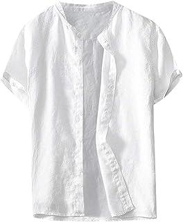 Luckycat Hombre de algodón Lino Camisa de Manga Corta Camisa Hawaiana Señores Manga Corta Bolsillo Delantero Impresión de ...