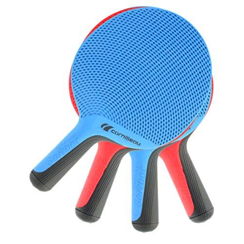 Cornilleau Unisex Softbat Eco Design Tischtennis-Quattro Set, Rot/Blau, Einheitsgröße