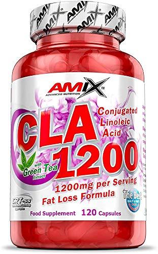AMIX - com plemento Alimenticio - CLA 1200 - Sin Estimulantes, Suplemento con Ácido Linoleico y Té Verde, Potente Antioxidante, Quemador de Grasa, 120 Comprimidos