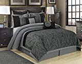HIGI EvJK Bedroom Bed-in-A-Bag 8 Piece Comforter Set - Jacquard Patchwork -...