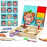 RONGJJ Puzzle Magnetico Legno Giocattolo di Legno Bambini con Double Face Magnetica Lavagna Legno Tavolo Giochi Bambini 3 Anni -5 Anni, H