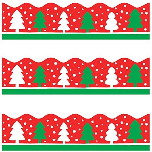 Christmas Tree Bulletin Board Border for Holiday Classroom Decoration Scalloped 36 Feet