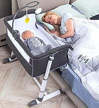 RONBEI Bassinet,Bassinet for Baby,Bedside Crib,Baby Bassinets Bedside Sleeper for Newborn Infant  Built-in Wheels (Dark Grey)