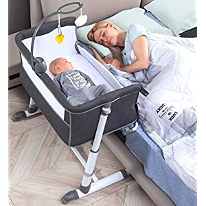 RONBEI Bassinet,Bassinet for Baby,Bedside Crib,Baby Bassinets Bedside Sleeper for Newborn Infant| Built-in Wheels (Dark Grey)