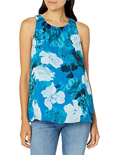 Vince Camuto Women's Sleeveless Watercolor Melody Floral Blouse, Lagoon, Medium