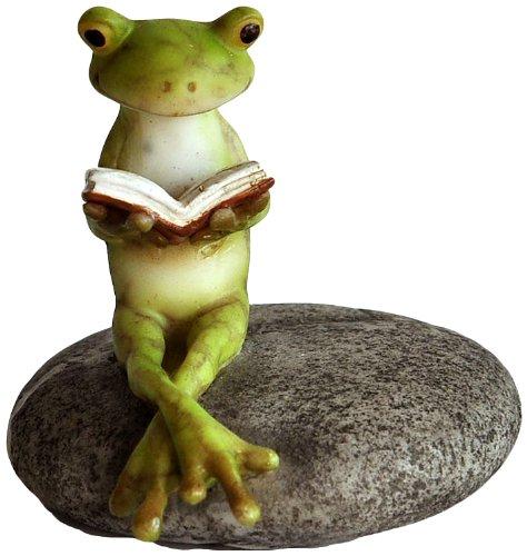 """Top Collection Miniatur-Feen-Garten und Terrarium, Statue """"Lesender Frosch auf Stein"""""""