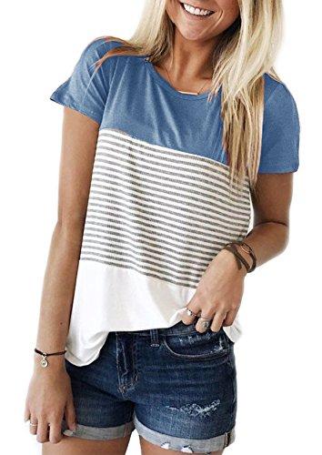 Yidarton Damen Sommer T-Shirt Casual Streifen Patchwork Kurzarm Oberteil Tops Bluse Shirt (Medium, Blau)