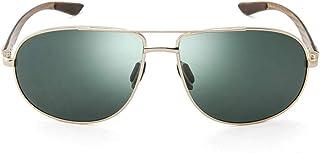 LETAM Gafas de sol Marco de Color Dorado Calidad de Gran tamaño Pierna de Primavera Fibra