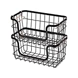 Amazon Basics - Cestas de metal apilables para almacenaje, para cocina o baño