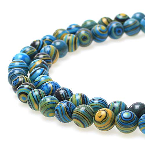 JARTC Synthesis Colour Malachite Beads Beautiful Fashion Round Stone Beads for DIY Jewelry Making 15 (8mm, Blue- Gold - Black)
