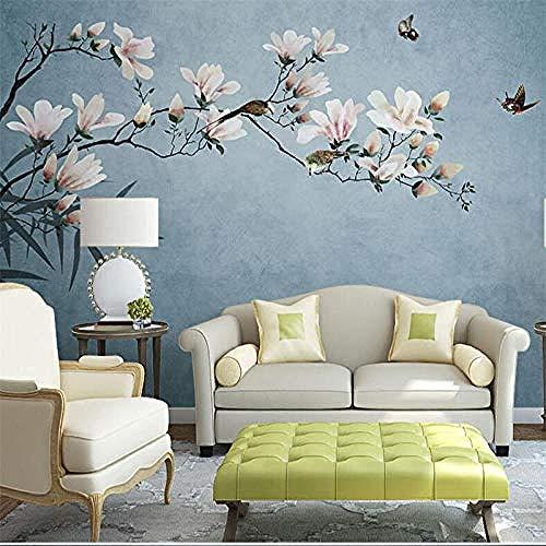 Custom Wallpaper New Chinese Handmade Yulan Flower Birds Sofa Bedroom Living Room TV Background Wall Custom 3D Wallpaper Paste Living Room The Wall for Bedroom Mural border-350cm×256cm