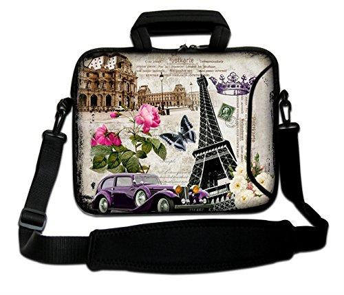 AUPET Laptoptasche aus Neopren mit Außengriff & verstellbarem Schultergurt & seitlicher Außentasche für Asus/HP/DELL/MacBook/Acer