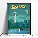 RQJOPE Dekorative Malerei Vintage Seattle Print Washington
