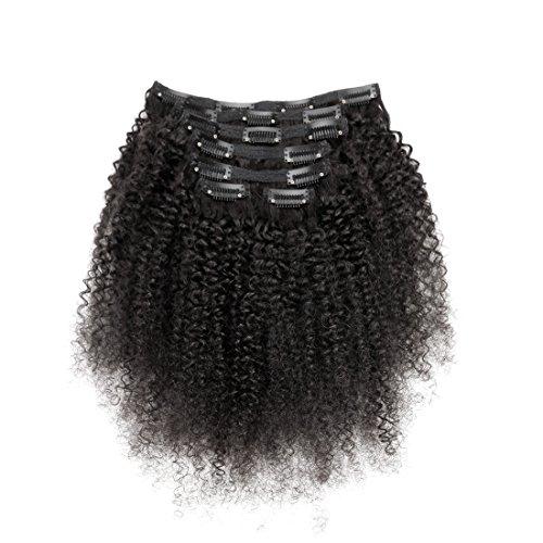 viviabella 100 Cheveux Humains Double trame d'épaisseur/Noir naturel Extensions cheveux bouclés à clip Noir de jais 70 g-160g 30,5 cm -28 \